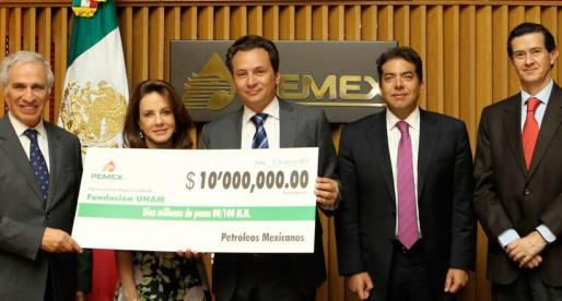 Entrega de fondos de PEMEX a FUNAM