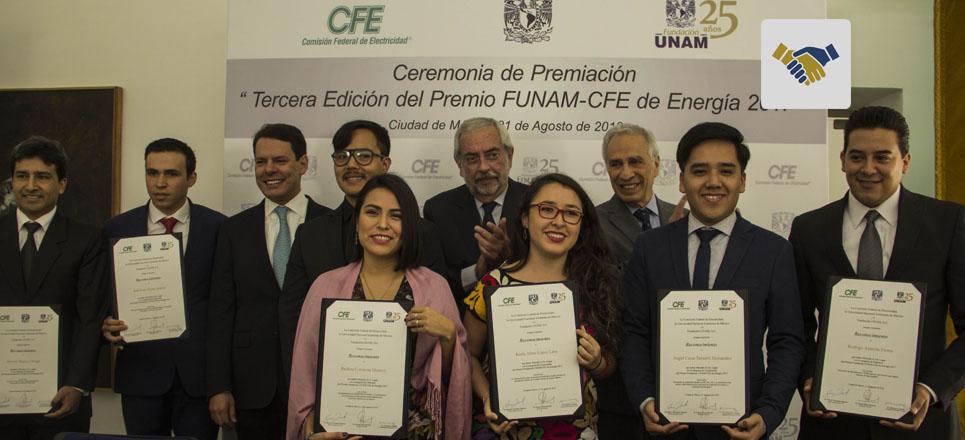 Entregan premio Fundación UNAM-CFE de Energía 2017